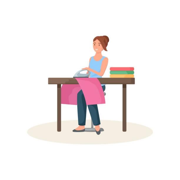 illustrazioni stock, clip art, cartoni animati e icone di tendenza di sarta seduta dietro il tavolo e stoffa rossa da stiro - near