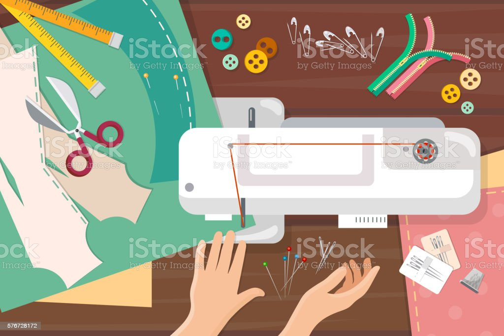 Seamstress work on sewing machine top view - Illustration vectorielle