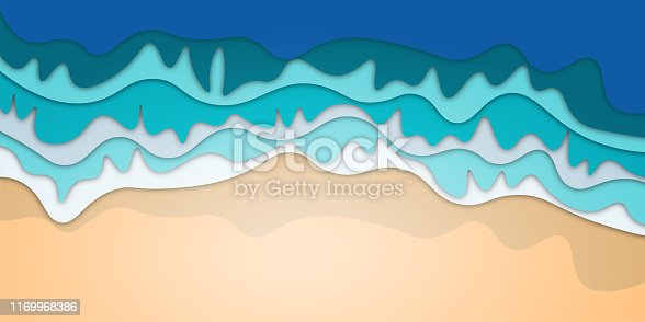 Sean or ocean water background. Paper cut cartoon illustration with multilayered effect