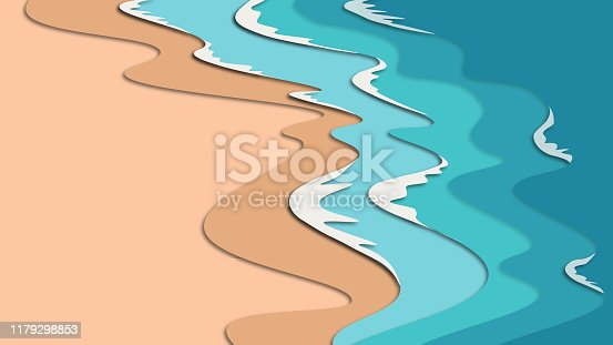 istock Sean or ocean water background. Papercut cartoon illustration with multilayered effect 1179298853