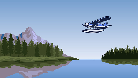 seaplane flying over the beautiful lake