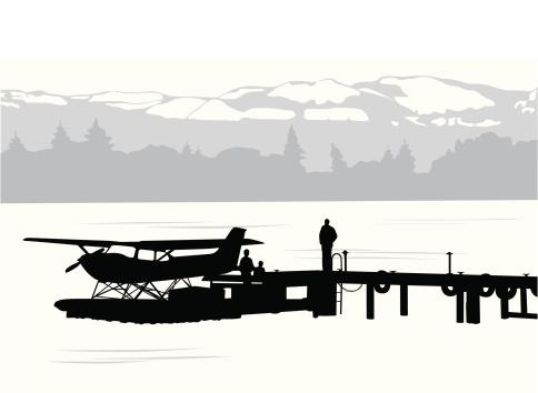 Seaplane Scene Vector Silhouette