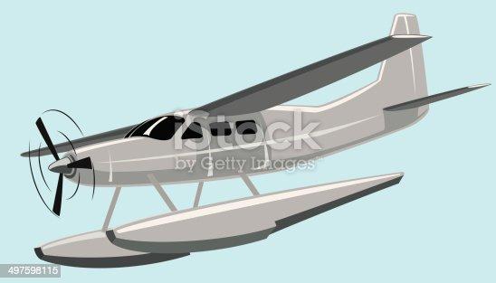 Vector illustration seaplane. No mash no gradient.