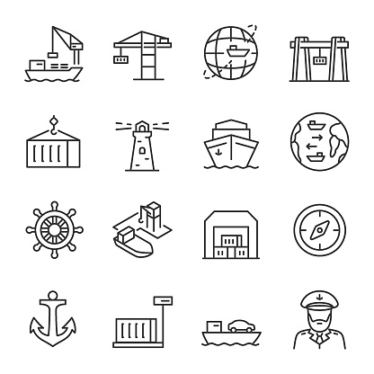 Seaport, icon set. Equipment for the shipping industry. Marine port and freight vessels. Logistic. editable stroke