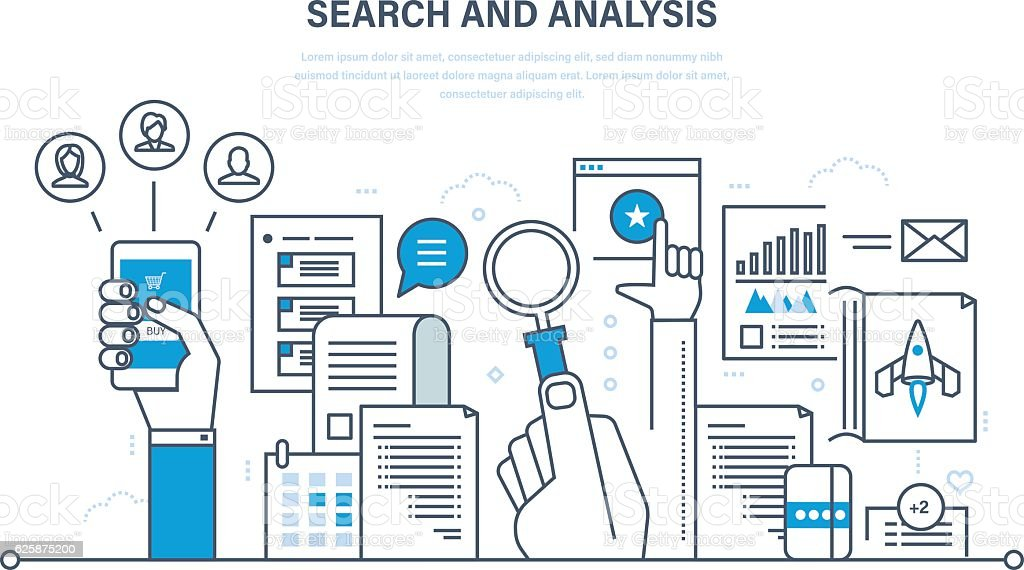 Search and analysis of information, communication, services, marketing  research. - ilustración de arte vectorial