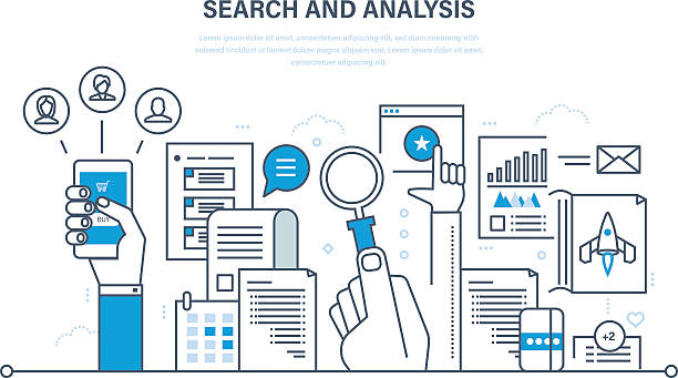 Search and analysis of information, communication, services, marketing  research. - Illustration vectorielle