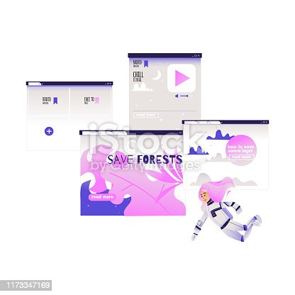 Search and analysis of information concept - girl in cosmonaut costume flies surrounded by devices screens with different data isolated on white background. Cartoon vector illustration.