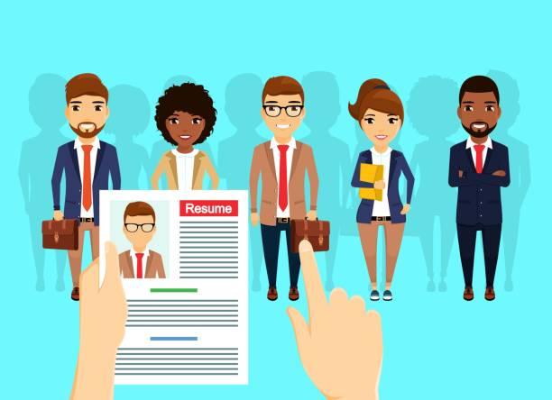 Personal suchen und mieten. Eine Gruppe von Menschen verschiedener Nationalitäten sind auf der Suche nach Arbeit. – Vektorgrafik