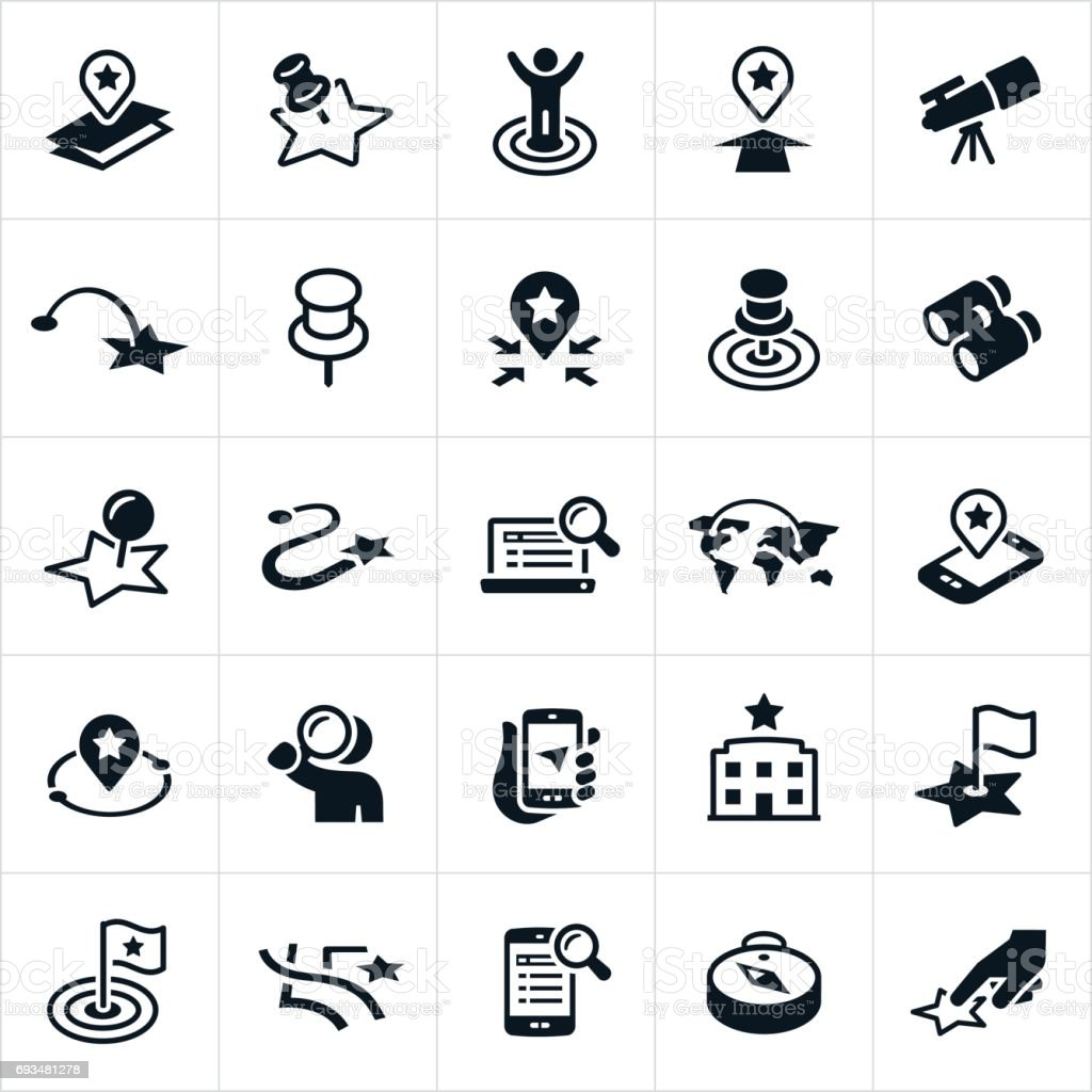 Search and Locate Icons vector art illustration