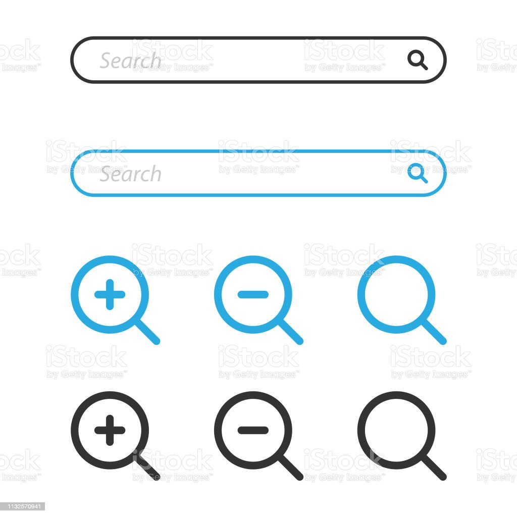 Search Bar and Magnifying Glass Icon Design. - Grafika wektorowa royalty-free (Aplikacja mobilna)