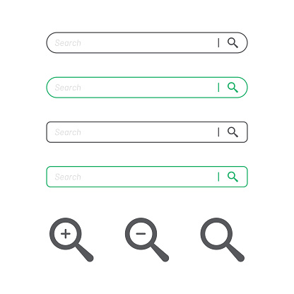 Search Bar and Magnifying Glass Icon Flat Design.