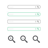 istock Search Bar and Magnifying Glass Icon Flat Design. 1168952623