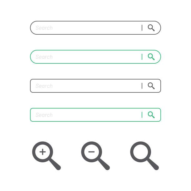 suche bar und lupe icon flat design. - sucht stock-grafiken, -clipart, -cartoons und -symbole