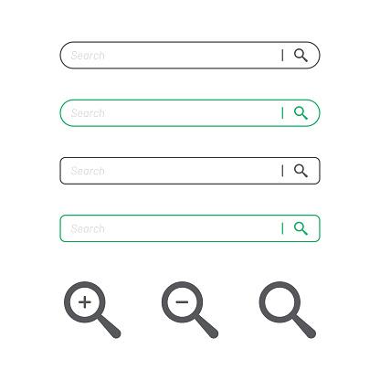 Search Bar And Magnifying Glass Icon Flat Design - Stockowe grafiki wektorowe i więcej obrazów Biały