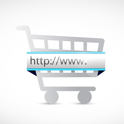 Search bar and shopping cart illustration