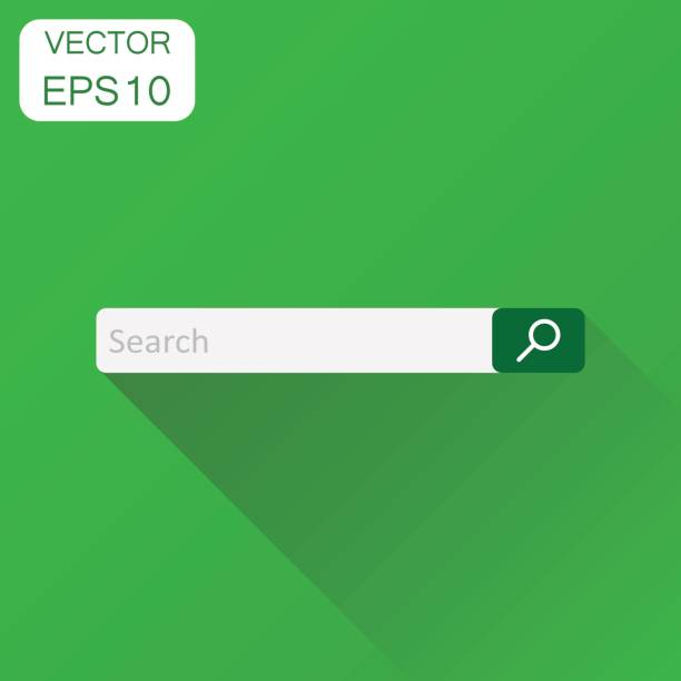 Search bar field icon. Business concept interface element with search button pictogram. Vector illustration on green background with long shadow. vector art illustration