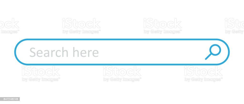 Campo de barra de pesquisa. Elemento de interface do vetor com botão de pesquisa. Ilustração em vetor plana sobre fundo branco. - ilustração de arte em vetor