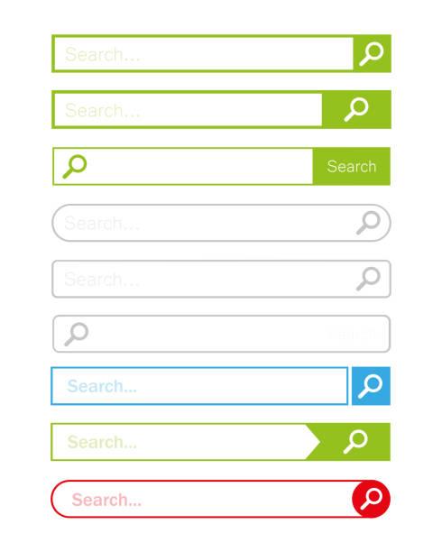 stockillustraties, clipart, cartoons en iconen met zoek bar instellen vector element ontwerp - bar tapkast
