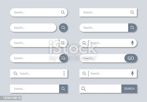 Search Bar Template Set for User Interface, Web, App, Software. Ready Search Form Collection - Vector Illustration