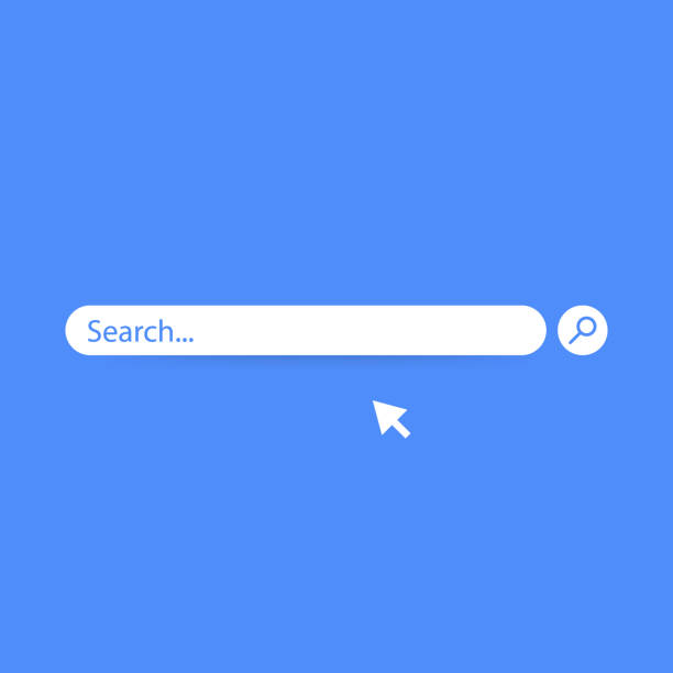 Search bar vector element design, search boxes ui template isolated on blue background. Vector illustration. Search bar vector element design, search boxes ui template isolated on blue background. Vector stock illustration. searching stock illustrations