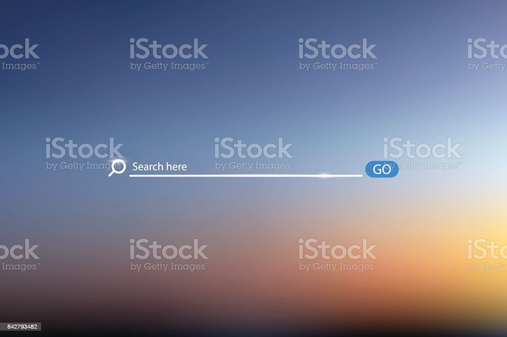 Search bar vector illustration on background of sky , simple search box field ui element vector art illustration