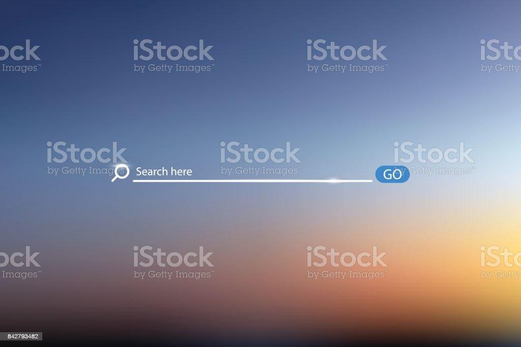 Ilustração em vetor bar busca no fundo do céu, o elemento de interface do usuário simples pesquisa caixa campo - ilustração de arte em vetor
