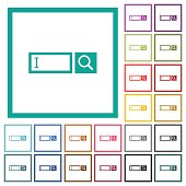 Search box with cursor flat color icons with quadrant frames