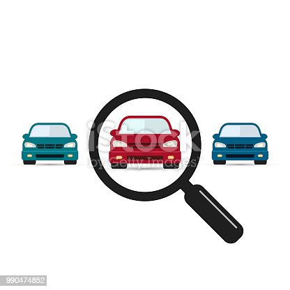 Search car sign, vector. Magnifying glass with car. Search car symbol. Looking for transport. Selection a car among others vehicles illustration.