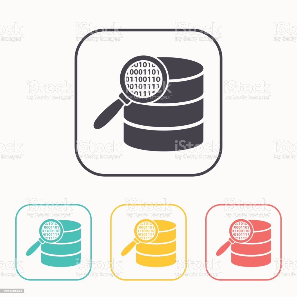 Search database flat icon. magnifier and data vector illustration vector art illustration