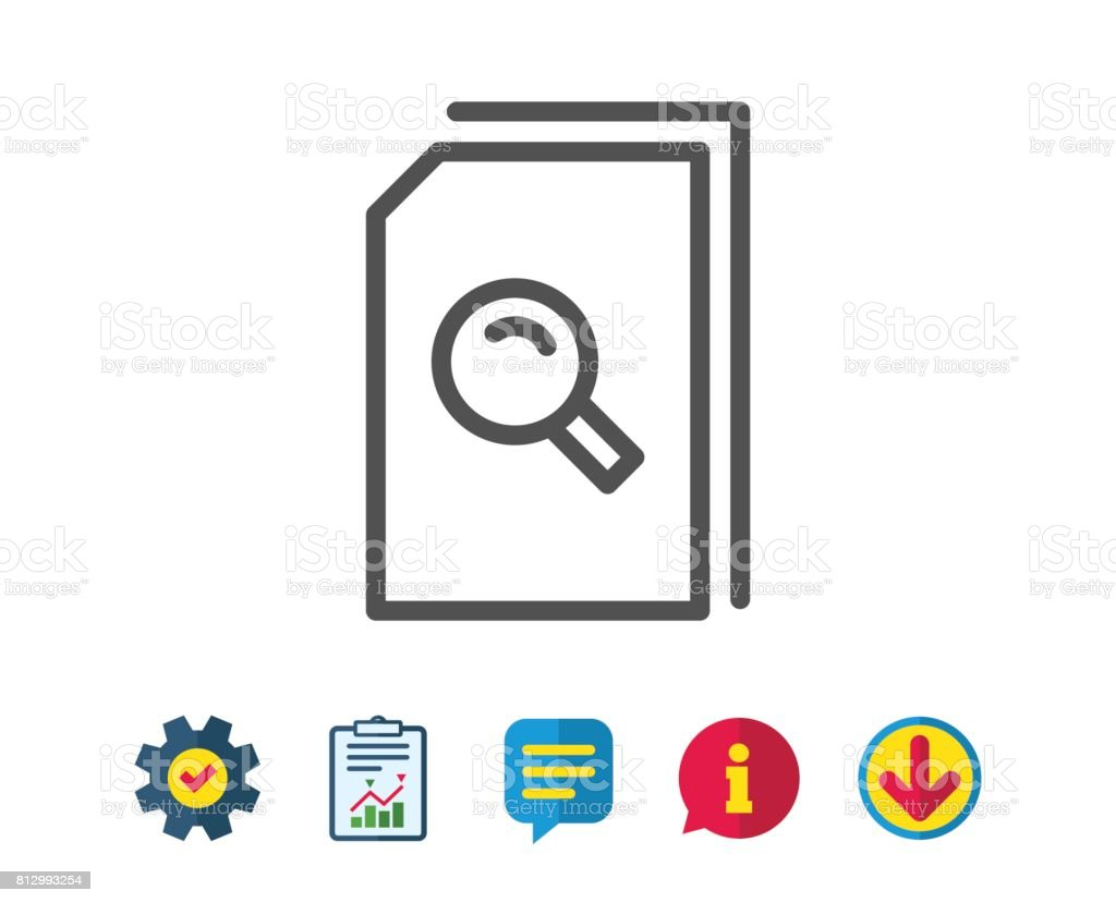 Search Documents line icon. File with Magnifier. vector art illustration
