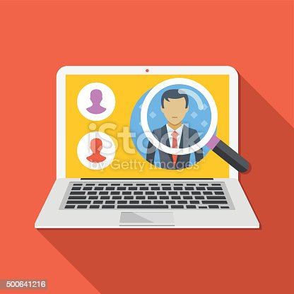 Search employee concept. Looking for professional staff. Flat design concepts for web banners, web sites, infographics. Flat vector illustration with trendy long shadow. Isolated on red background