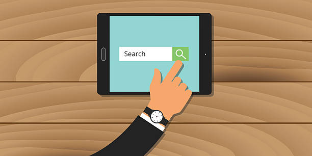 search engine analytics web tablet hand searching - google stock illustrations