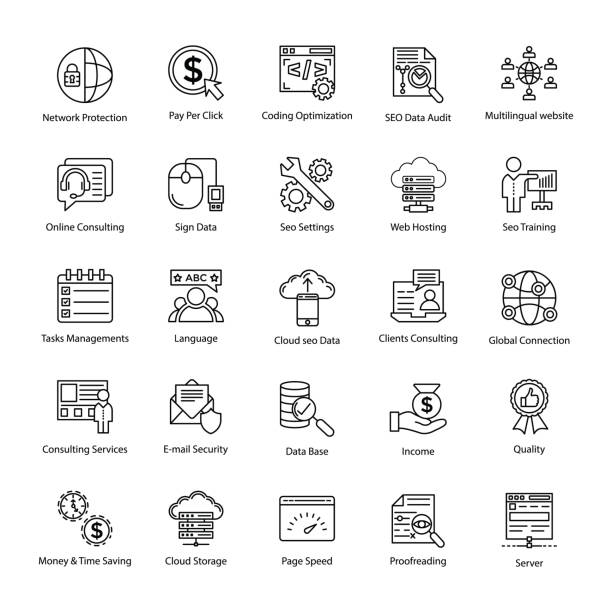 suchmaschine und optimierung master icons - korrekturlesen stock-grafiken, -clipart, -cartoons und -symbole
