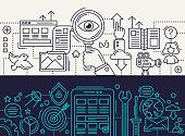 Search Engine, App Development - line design banners set