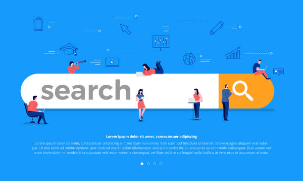 search engine concept - seo stock illustrations, clip art, cartoons, & icons
