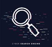 istock Search Engine Glitch Effect Icon Illustration 1129129860