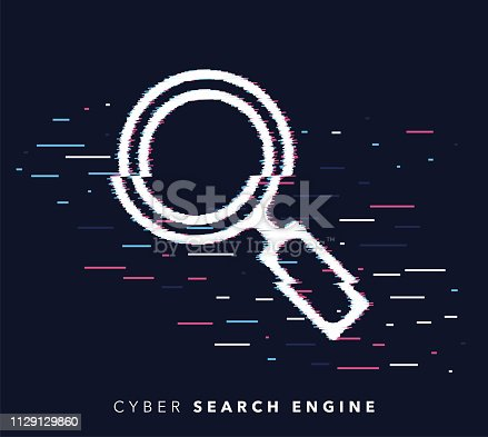 Glitch effect vector icon illustration of search engine with abstract background.