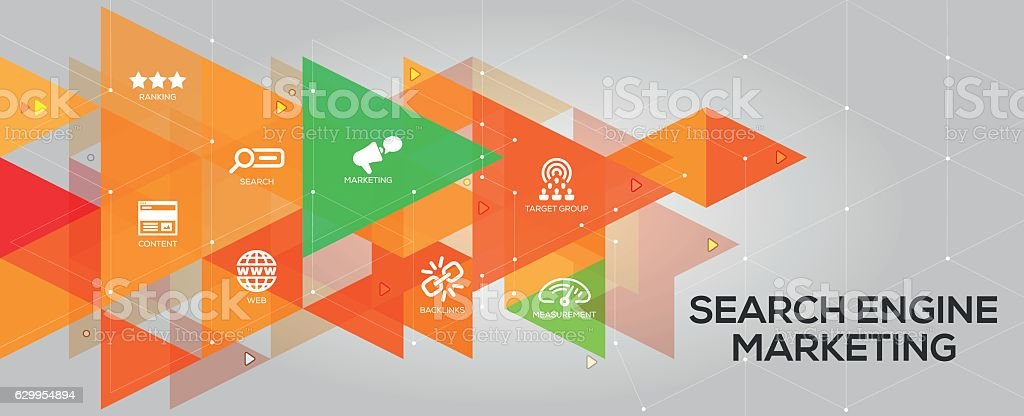 Search Engine Marketing banner and icons vector art illustration