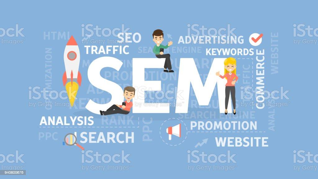 Search engine marketing concept illustration. vector art illustration