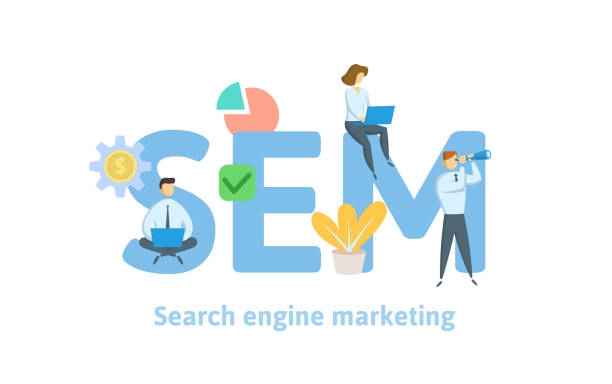 SEM, search engine marketing. Concept with keywords, letters, and icons. Flat vector illustration. Isolated on white background. SEM, search engine marketing. Concept with keywords, letters, and icons. Colored flat vector illustration. Isolated on white background. sem stock illustrations