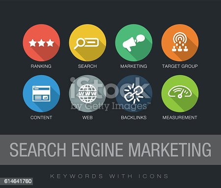 Search Engine Marketing chart with keywords and icons. Flat design with long shadows