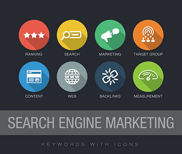 Search Engine Marketing keywords with icons Search Engine Marketing chart with keywords and icons. Flat design with long shadows sem stock illustrations