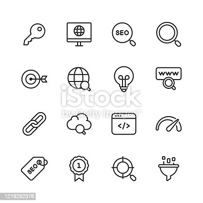 16 SEO - Search Engine Optimisation Outline Icons.