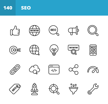 20 SEO - Search Engine Optimisation Outline Icons. Search Engine Optimisation, Marketing, Internet, Thumb Up, Like Button, Web Browser, Magnifying Glass, Advertising, Speaker, Target, Performance Marketing, Big Data, Technology, E-Commerce, Idea, Lightbulb, Mobile App, Web Layout, Webpage Link, Chain, Computer Programming, Link Sharing, Performance, Startup, Settings.