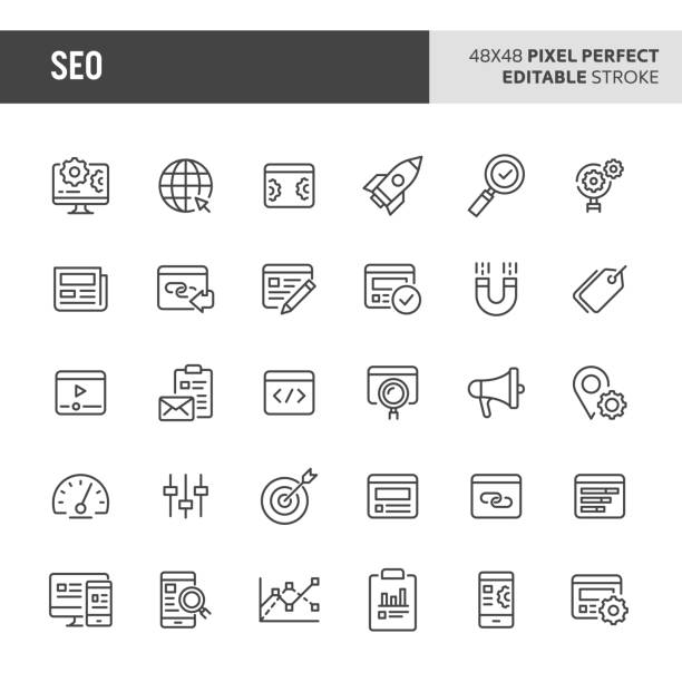 search engine optimisation vector icon set - seo stock illustrations, clip art, cartoons, & icons