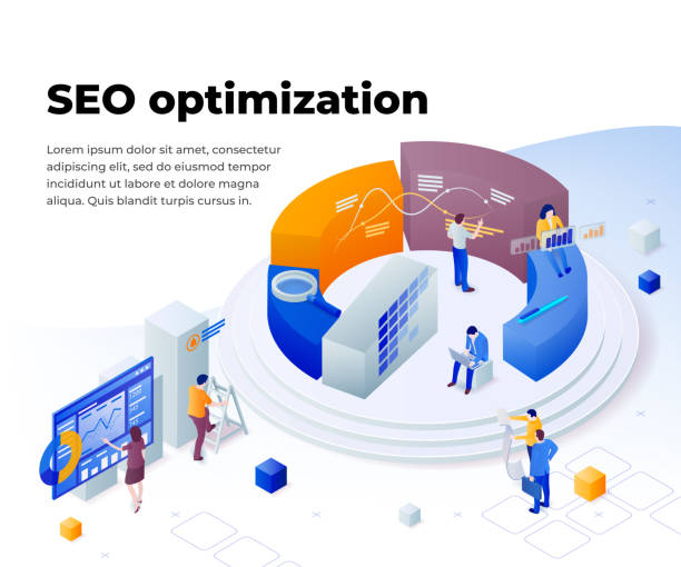 Search engine optimization and analytics. Promoting business on the Internet. vector art illustration