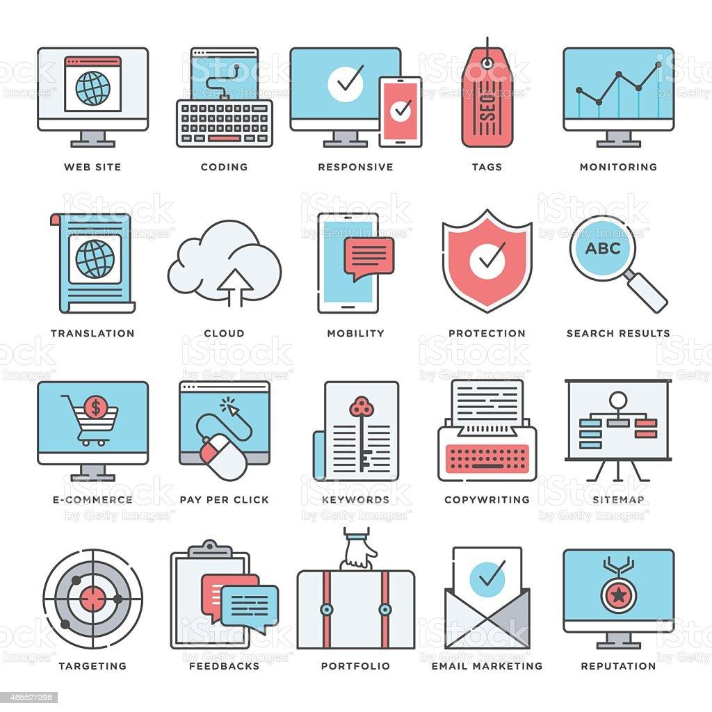 検索エンジン最適化、インタラクティブマーケティング ベクターアートイラスト