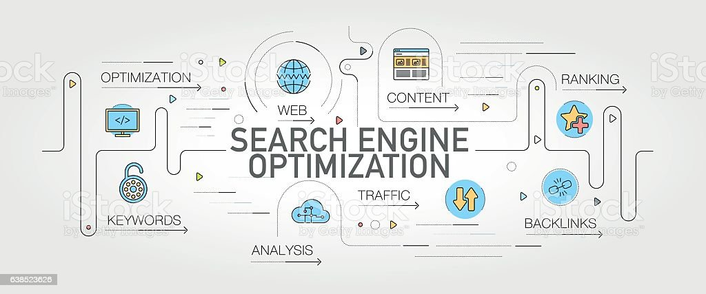 Search Engine Optimization banner and icons vector art illustration