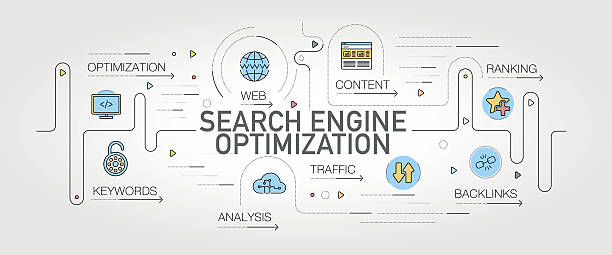search engine optimization banner and icons - seo stock illustrations, clip art, cartoons, & icons