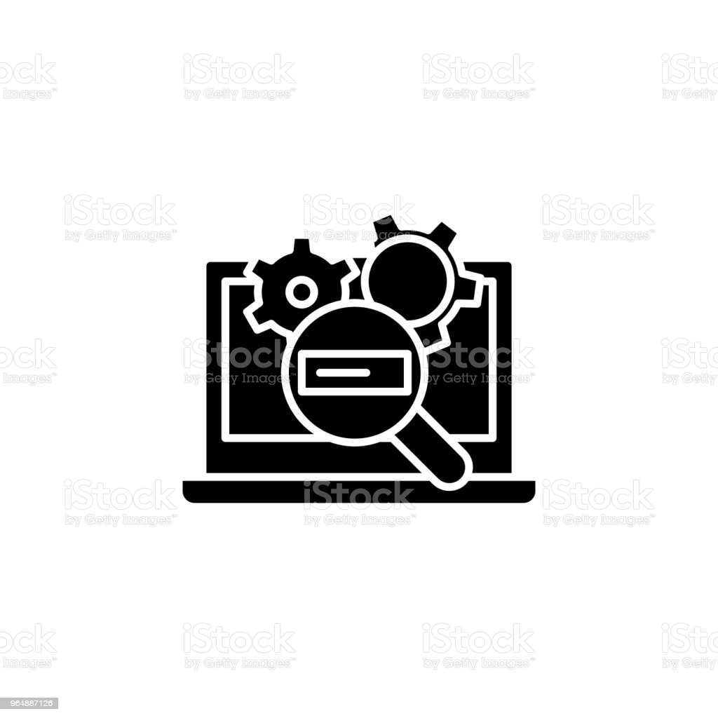 Search engine optimization black icon concept. Search engine optimization flat  vector symbol, sign, illustration. royalty-free search engine optimization black icon concept search engine optimization flat vector symbol sign illustration stock vector art & more images of abstract